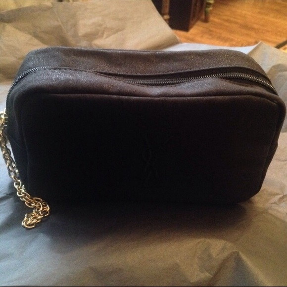 YSL Cosmetic Pouch  Bag with Gold Chain Wristlet. 20988e7fc487a